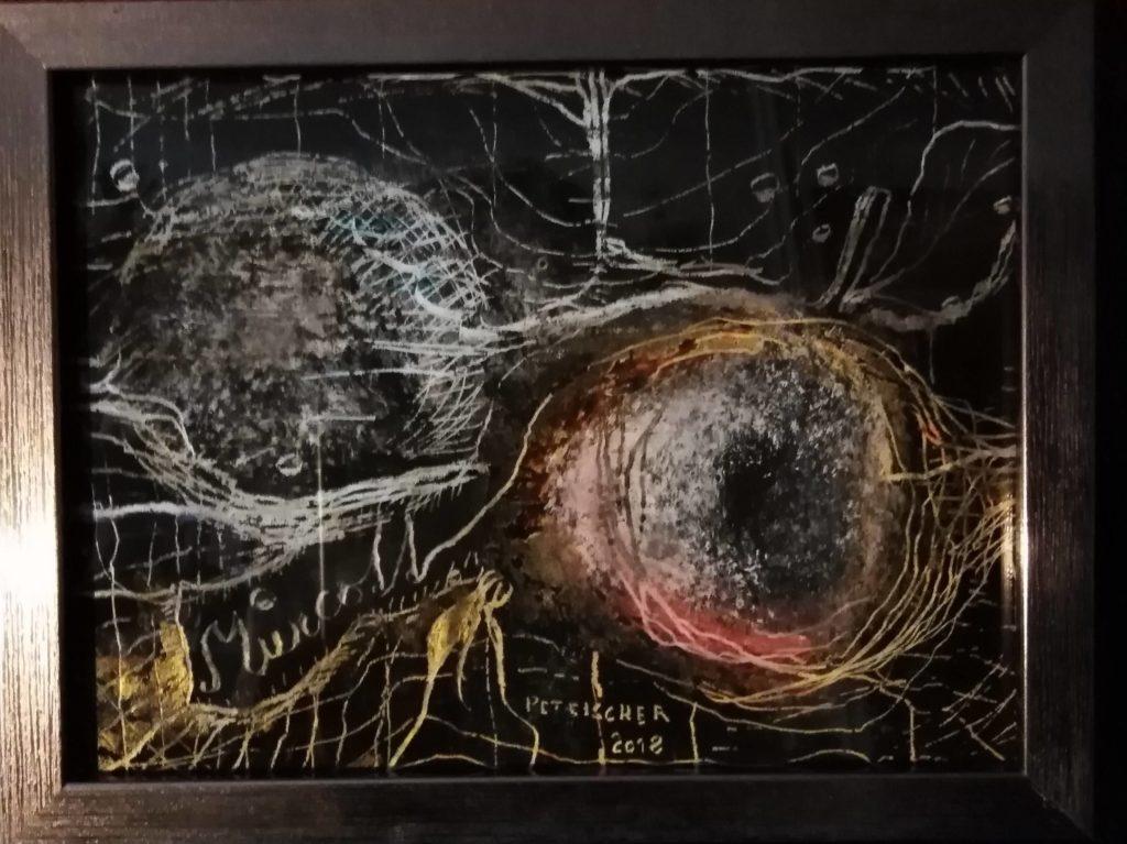 Obraz 20x15cm, kombinovaná technika, Bez názvu, 2018