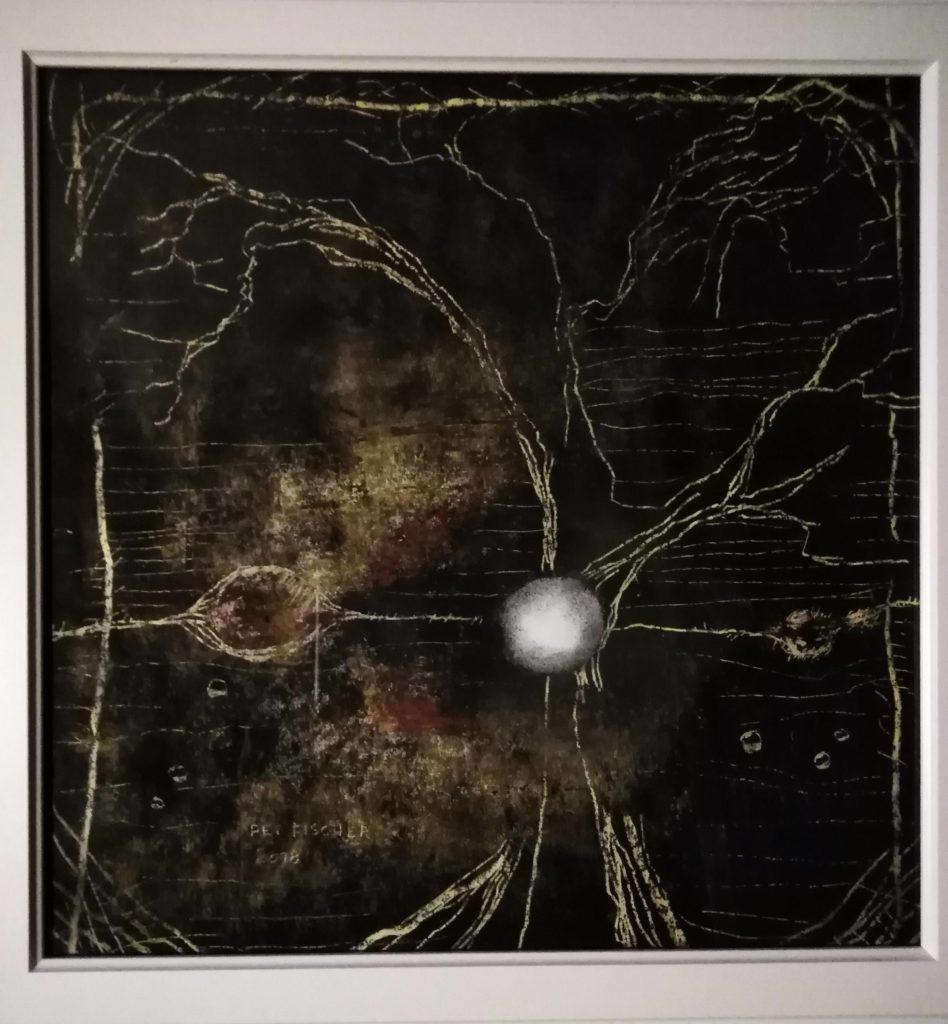 Obraz 40x40cm, kombinovaná technika, Bez názvu, 2018