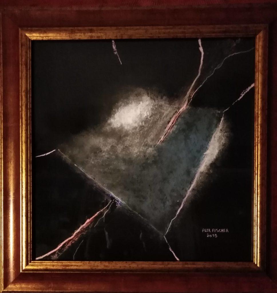 Obraz 40x40cm, kombinovaná technika, Bez názvu, 2019