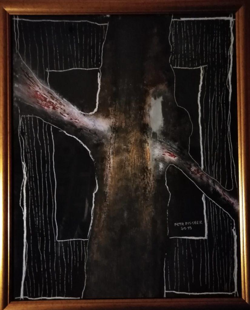 Obraz 40x50cm, kombinovaná technika, Bez názvu, 2019