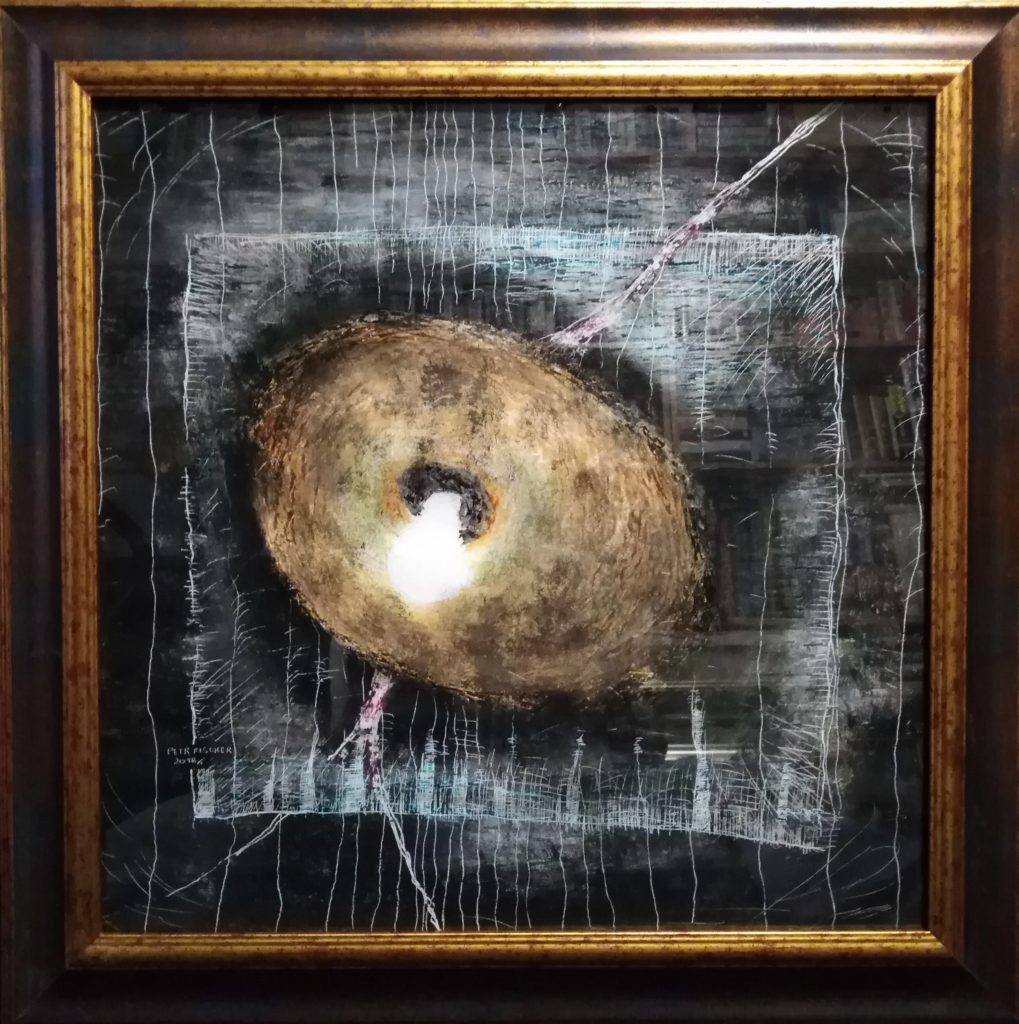Obraz 50x50cm, kombinovaná technika, Bez názvu, 2018