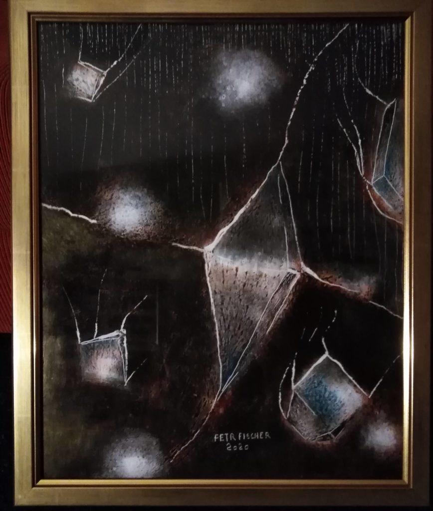 Obraz 40x50cm,kombinovaná technika,Bez názvu,2020