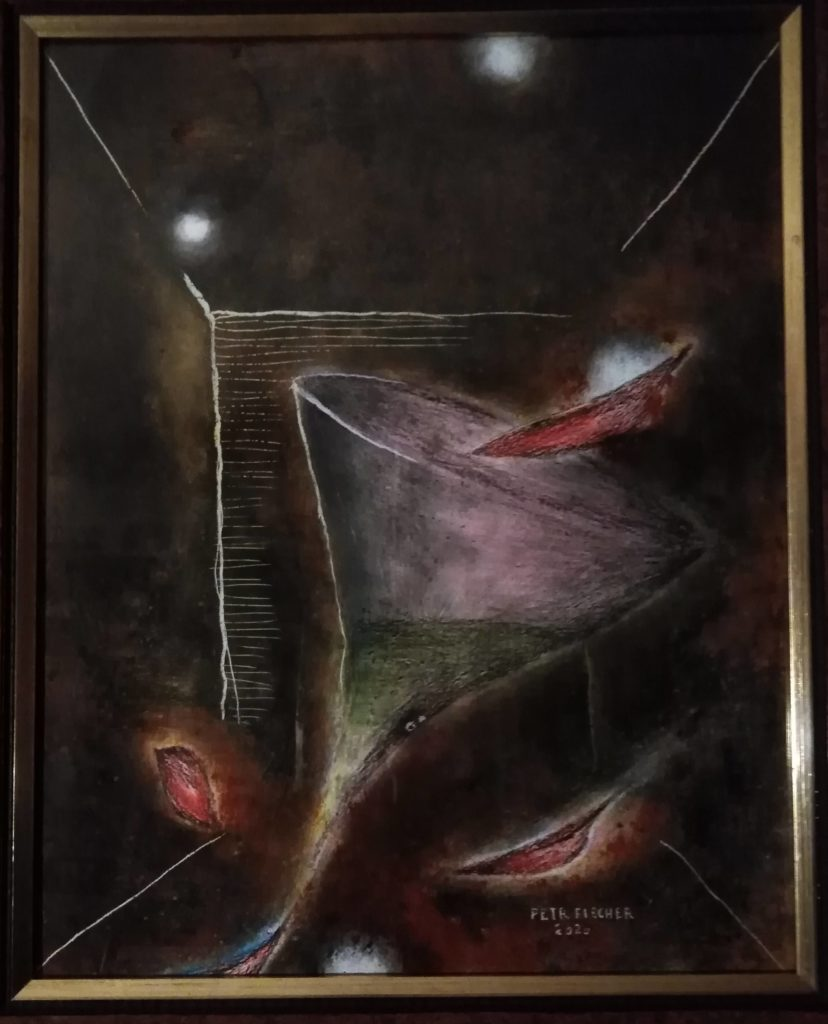 Obraz 45x60cm,kombinovaná technika,Bez názvu,2020