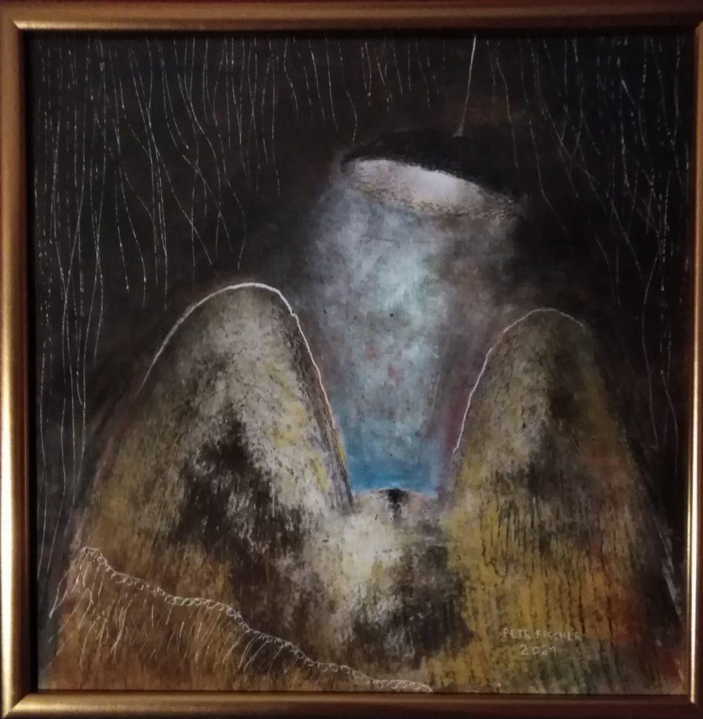 Obraz 50x50cm,technika Chiaroscuro (staromistrovský šerosvit),Bez názvu,2021